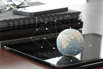 hand drawn texture globe with blank social media diagram on digital tablet computer as internet concept and bokeh exposure