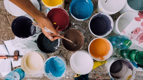 paint cans with multiple colors